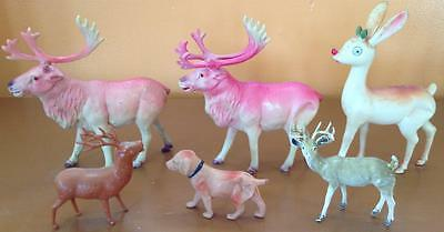 vintage celluloid lot of 6 Reindeer red jewel eyes pink Rudolf Dog Christmas