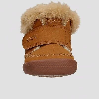 Clarks DOODLES Children Infant Girls Boys Kids Slipper Boots shoes Tan Fur Trim