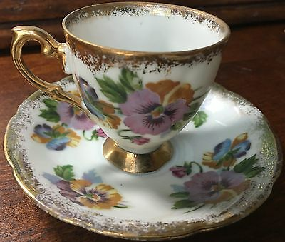 Napco SD153 Gold Trim Hand Painted China Teacup & Saucer