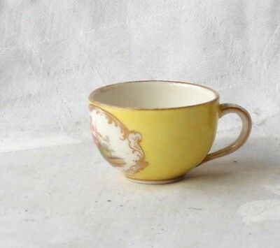 Late C19Th Miniature Dresden Style Hand Painted Cup With Picture Panels