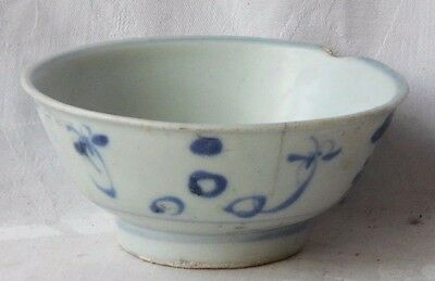 C18Th Chinese Tek Sing Shipwreck Cargo Blue & White Bowl In Floral Design  A/f
