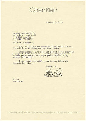 Calvin Klein - Typed Letter Signed 10/05/1979