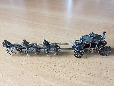 RARE-Antique Dutch 830 Silver Six Horse Crown Carriage, Amsterdam 20th century