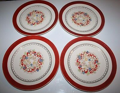 """Set of 4 ~ 7"""" SALAD PLATES 1930's LEIGH POTTERS INC USA 22K Gold IMPERIAL RUBY"""