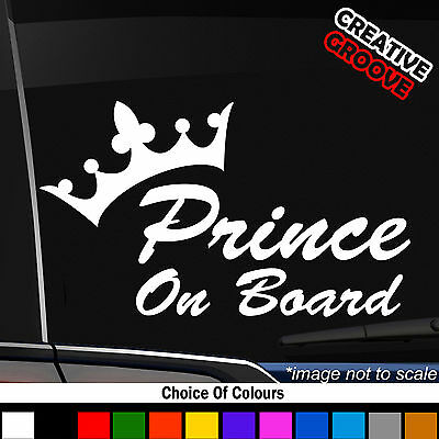 PRINCE ON BOARD baby Child Window Bumper Car Sign Decal Sticker External