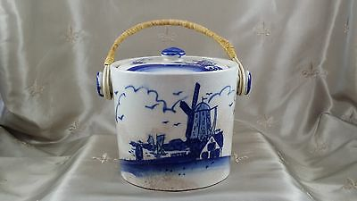 ANTIQUE Cracker Jar w/Handle BLUE & WHITE Hand Painted  JAPAN