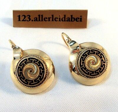 Biedermeier Emaille Ohrringe 585 er Gold Ohrhänger old enamel Earrings / AZ 569