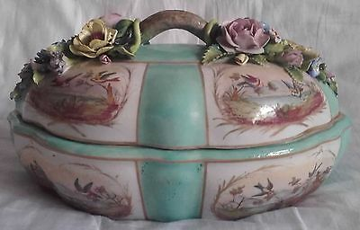 Antique Sevres Style Tureen - Birds & Applied Flowers / Encrusted Floral Relief
