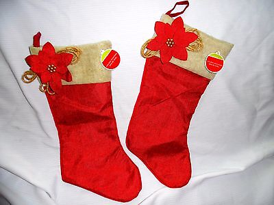 Red Christmas Canvas Stocking Set