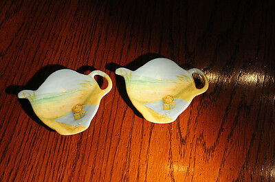 Teapot Shaped Teabag Rest-Seashore Scene- Set Of 2     Made In Italy
