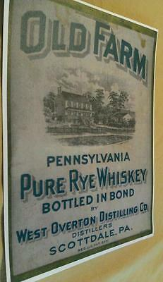 1895 West Overton Distilling Co. Old Farm Rye Whiskey Bottle Label Scottdale Pa.