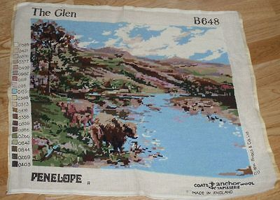 """VINTAGE PENELOPE COMPLETED TAPESTRY CANVAS - THE GLEN - 18"""" x 22"""""""