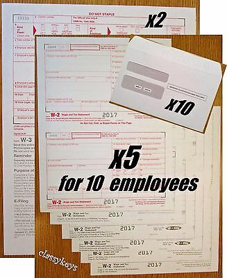 2017 IRS TAX FORMS KIT:: W-2 Wages 6-pt LASER for 10 employees + W-3 + envelopes