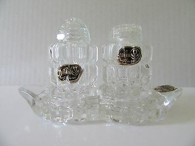 VTG Bohemia Glass Salt & Pepper Shakers w/Crystal Tray Mid-Century Modern Czech