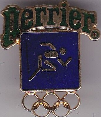 Olympic Sponsor Pin--PERRIER--1984 Los Angeles Track & Field--FREE SHIPPING