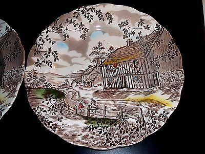 W.H.Grindleys Dickens Coaching Stages lot of 2 Dinner Plates Staffordshire