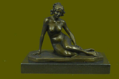 Bronze Sculpture Sitting Nude Lady Hand Made Masterpiece Figurine Home Gift