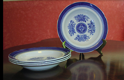Spode Fitzhugh Blue Set Of Four Large Rim Soup Plates In Mint Condition