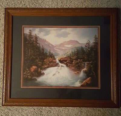 Home interiors and gifts framed picture Mountain stream beautiful frame 2002