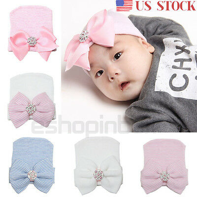 Newborn Toddler Baby Girl Bowknot Bow Knot Diomand Hospital Cap Beanie Warm Hat