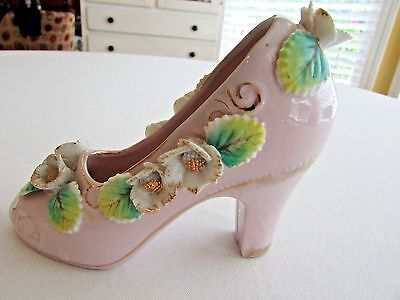 Vtg Hand Painted ROYAL Japan Pink Ladies High Heel Decorative Shoes Collectibles
