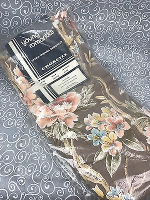 One Pair Vintage CROSCILL Young Romantics Drapes Lined Drapery Brown Floral