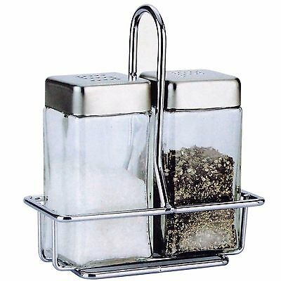 Salt and Pepper Glass Shakers Stainless Steel Lid and Wire Rack Stand Spice