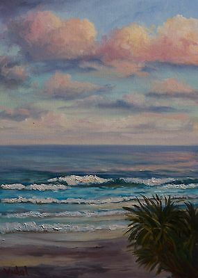 Original Australian Landscape Oil Painting of Coolum Beach Sunset waves