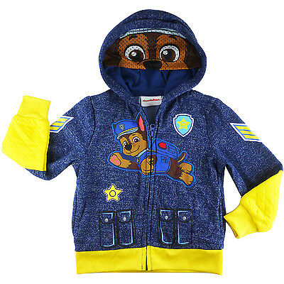 PAW PATROL hoodie with half mask fleece jacket outfit -Chase size 3 4 5 6 7 new