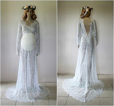 White Lace Backless Maternity Dress Gown With Train-Photography Photo Prop 10-14