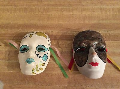 Two chinese hand painted face hanging mask