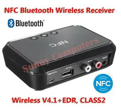 Bluetooth NFC Wireless Stereo Audio Music Receiver 2RCA 3.5mm Speaker Output AU