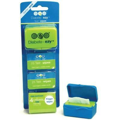 Ezy-Test-wipe Starter Pack 100 testing wipes to ensure a reliable blood gluco...