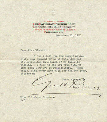 George H. Lorimer - Typed Letter Signed 12/30/1936