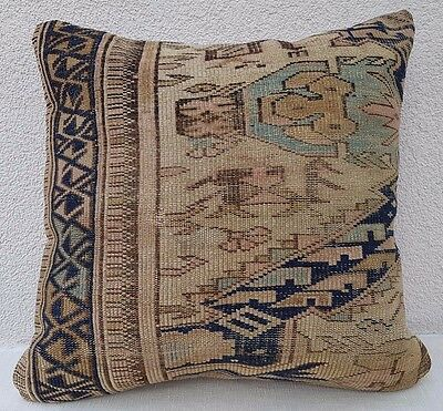 Antique Collectible Handmade Caucasian Shirvan Rug Pillow Cover 18'' X 18''