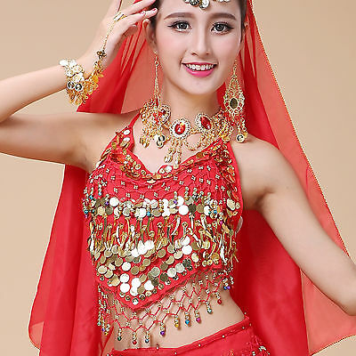 Belly Dance Indian Costume Bra Top Sequins Vest Blouse Outfits Perform Practice