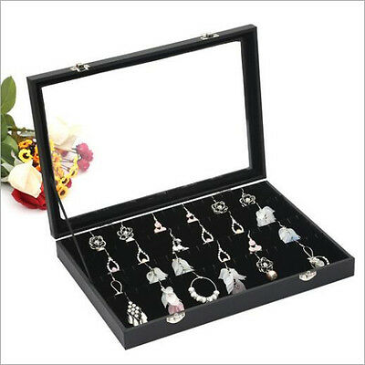 Glass Top Large Earring Display Box 40 Pairs Storage Jewelry Case Organizer New