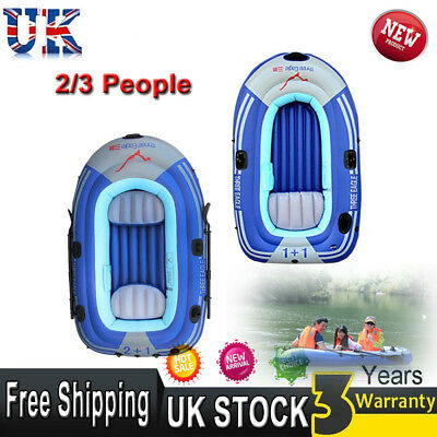 2/3 People Inflatable Dinghy Boat Yacht Tender Fishing Raft with Paddles & Pump