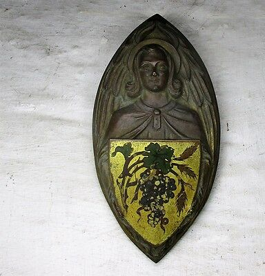 Antique Brass Ornate plaque Church Shield Seal Jesus Christ The Vine Collector