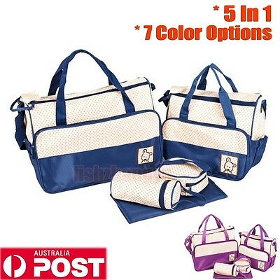 5 In 1 Diaper Tote Bags Baby Nappy Bag Mummy Mother Handbag Set w/ Changing Pad