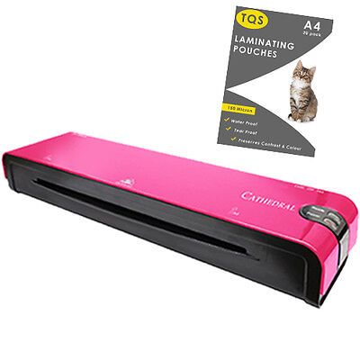 Laminator Machine PINK Hot Roller For Home Office & 20 Laminating Pouches FREE