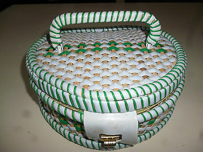 VINTAGE GREEN & WHITE SEWING BOX - nice shape & size - 19cm wide