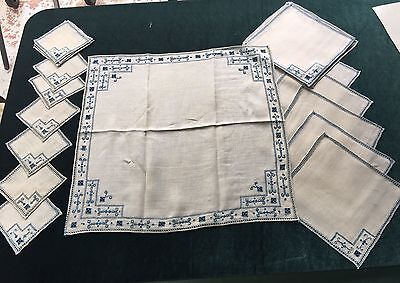 24 Pcs Blue Italian Reticella Lace Antico Embroidery Table Cloth And Napkins