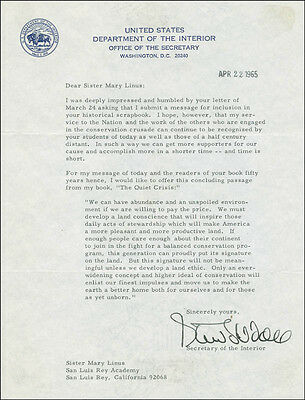 Stewart L. Udall - Typed Letter Signed 04/22/1965