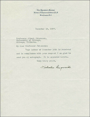 Nicholas Longworth - Typed Letter Signed 12/16/1927