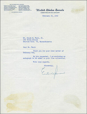 Estes Kefauver - Typed Letter Signed 02/25/1952