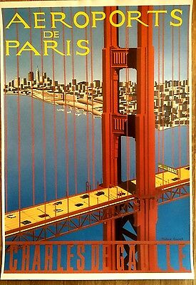 "Affiche AÉROPORTS de PARIS par Richard ROUSSEL "" NEW YORK ""  année 1990"