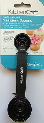 4 x Kitchen Craft Nesting Magnetic Measuring Spoons Handy Kitchen Utensil Black