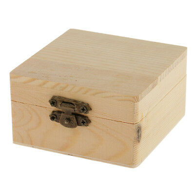 Square Shape Unfinished Wooden Box Jewelry Gift Storage Box DIY Base Crafts