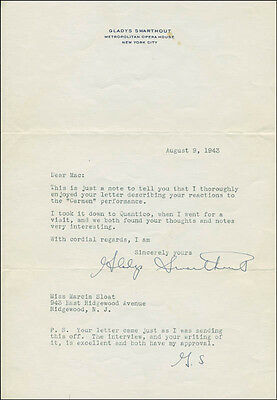 Gladys Swarthout - Typed Letter Twice Signed 08/09/1943